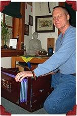 Jim playing harmonium - Bhakti Breakfast Club testimonial