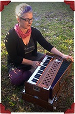 Tricia playing harmonium - Bhakti Breakfast Club testimonial